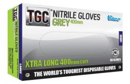 Nitrile Grey Gloves 400mm PowderFree XX-LARGE - TGC