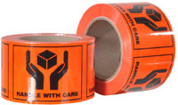 HANDLE WITH CARE printed labels on a roll (660 labels/roll) - Pomona