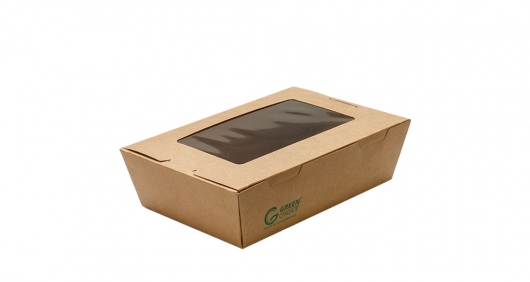 Take Away Box with Window Kraft PLA Small - Green Choice