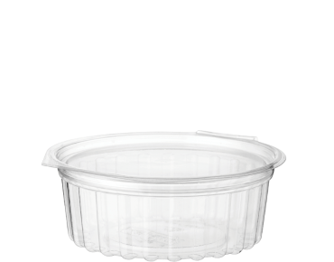 Eco-Smart' Clearview' Food Bowls 8 oz Hinged Flat Lid, Clear - Castaway