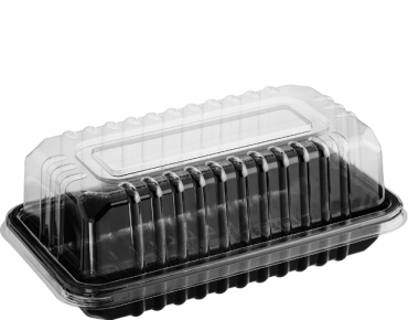 Eco-Smart' Clearview' Bar Cake, Black Base & Clear Lid - Castaway