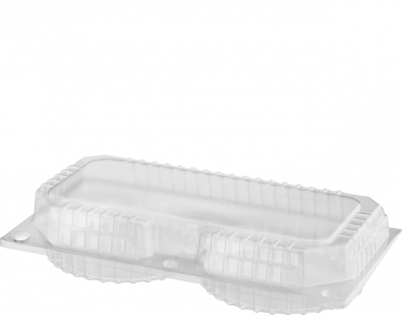 Eco-Smart' Clearview' Double Custard Pack, Hinged Lid, Clear