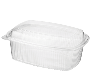 Eco-Smart' BettaSeal' Lunch Rectangular Container Extra Large, Hinged Done Lid, Clear - Castaway