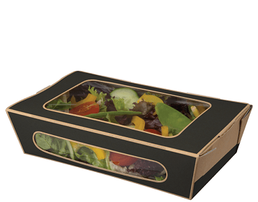 Tuck-Top Window Salad Pack, Large - Slate Grey / Brown Kraft - Castaway