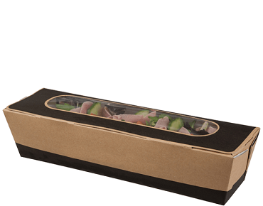 Tuck-Top Window Baguette Box, 10 inch - Slate Grey / Brown Kraft - Castaway