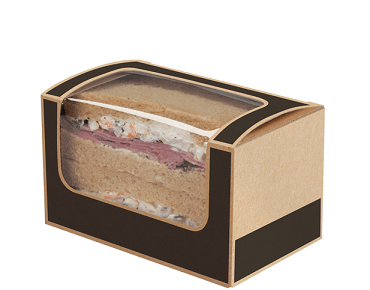 Square-Cut Sandwich Wedge (2 sandwiches), Slate Grey / Brown Kraft - Castaway
