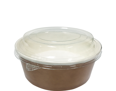 Multi-Food Pot & PET Lid Combo-Pak', 550 ml Brown kraft / Clear Lid - Castaway