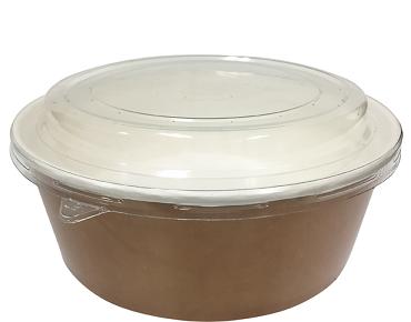Multi-Food Pot & PET Lid Combo-Pak', 1000 ml Brown kraft / Clear Lid - Castaway