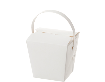 Paper Food Pail with Paper Handle 8oz Small, White