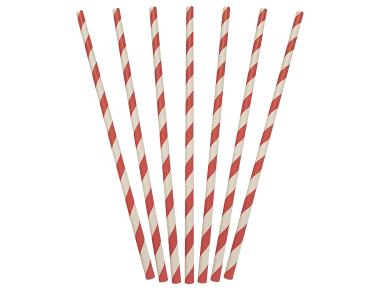 Paper Regular Straws, Red & White Stripe (205 x 6 mm) - Castaway