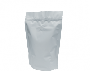 500g Stand-Up Coffee Pouch, Rip-Top & Resealable Zipper, Matte White - Castaway