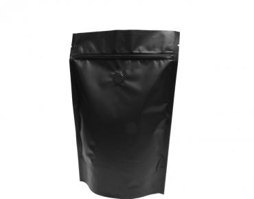 500g Stand-Up Coffee Pouch, Rip-Top & Resealable Zipper, Matte Black - Castaway