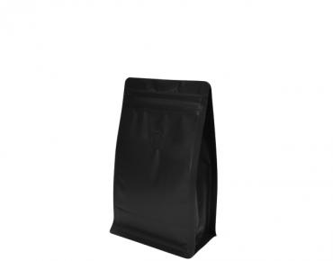250g Box Bottom Coffee Bag, Resealable Zipper, Matte Black - Castaway