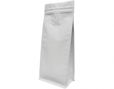 1kg Box Bottom Coffee Bag, Resealable Zipper, Matte White - Castaway
