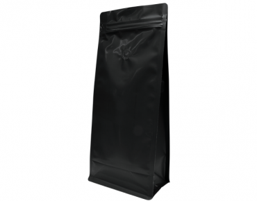1kg Box Bottom Coffee Bag, Resealable Zipper, Matte Black - Castaway