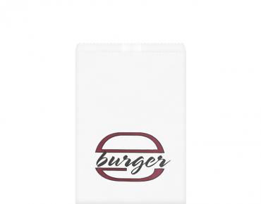 Greaseproof Bag, Printed 'Burger', White - Castaway