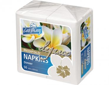 Elegance' Dinner Napkins, RediFold', White - Castaway