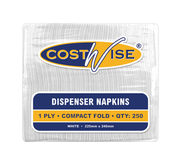 Costwise' 1 Ply Dispenser Napkins, Compact D-Fold, White - Castaway