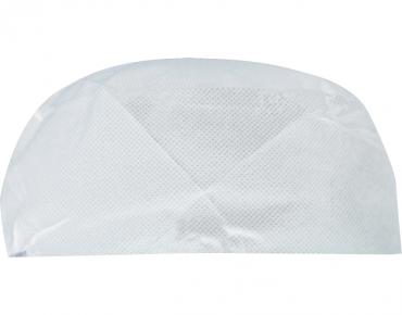 PrimeSource' Disposable Flat-top Chef's Cap, Non-Woven, White - Castaway