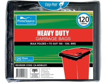 PrimeSource' 120L  Garbage Bags, Pack, Bulk Folded - Castaway