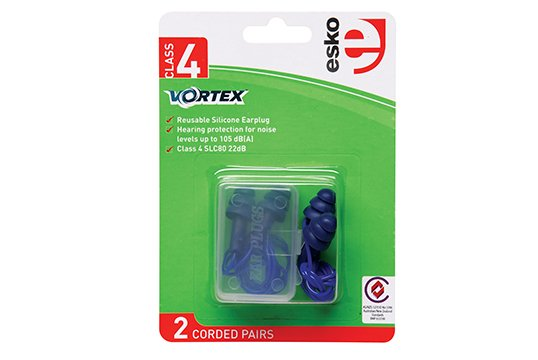Vortex Reusable Corded Earplugs, Class 4 (2 pairs) BLUE - Esko