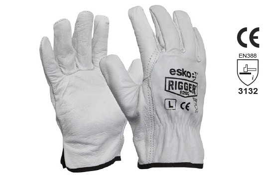 The Esko Rigger', Premium Natural Cow grain rigger gloves, 4XL - Esko