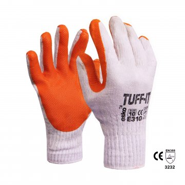 TUFF-IT Knitted poly/cotton glove, Red latex dip, Size 8 - Esko