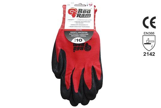 RED RAM' Black sandy Latex Red Polyamide Liner, w/header card, Size 9 - Esko