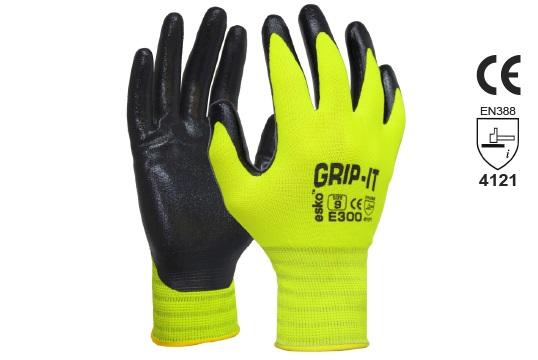 GRIP-IT' Black nitrile palm coating with Hi-vis nylon liner, Size 8 - Esko