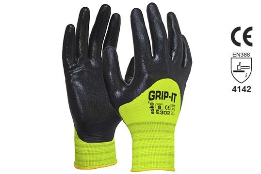 GRIP-IT' Black nitrile 3/4 dip coating with Hi-vis nylon liner, Size 11 - Esko