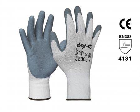 DEX-IT Grey Nitrile Foam palm coated with white nylon liner, Size 10 - Esko