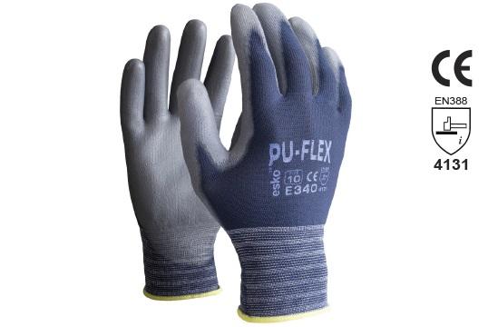 PU-FLEX Blue Polyurethane Palm on Nylon Liner, Size 7 - Esko