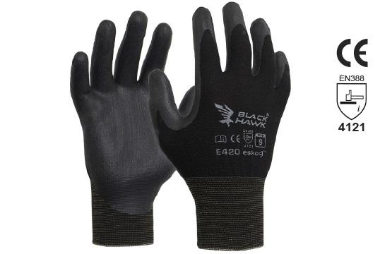BLACK HAWK' Black Foam Nitrile, Black Polyamide Liner, Size 8 - Esko