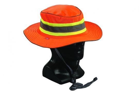 Good2Glow' Hi-Vis Full Brim Safari Hat, Orange MEDIUM - Esko