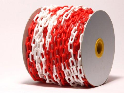 Plastic Chain, 6mm, Red/White 24m Roll - Esko