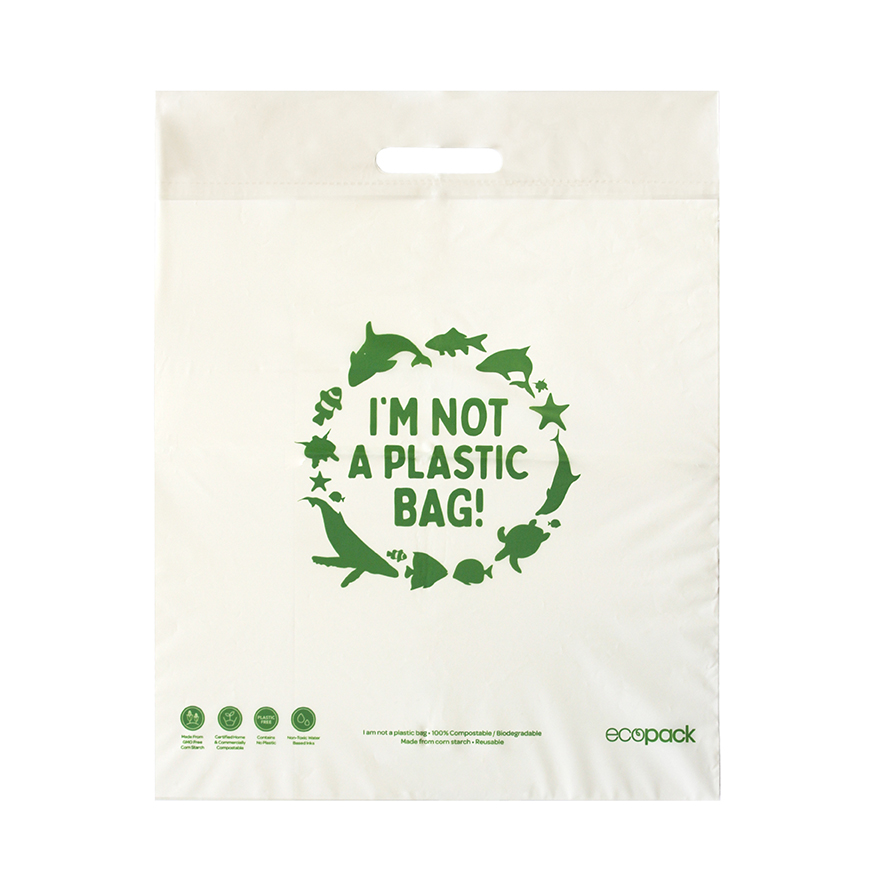 Punched Handle Bag Compostable Medium 40x49cm- Ecobags - Pack or Carton