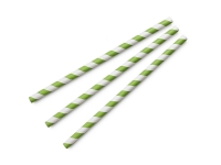Straw 08 x 200mm PAPER green stripe - Vegware - Pack & Carton