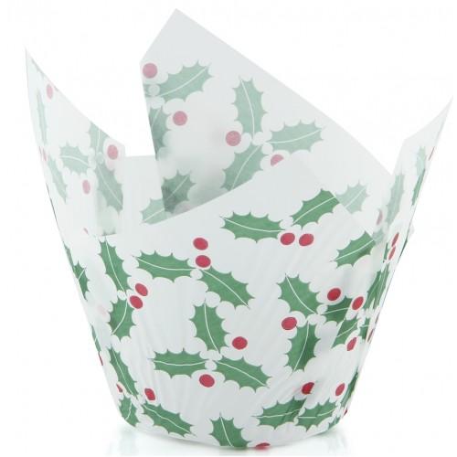Texas Muffin Wrap - Christmas Holly (250 ctn) - Confoil