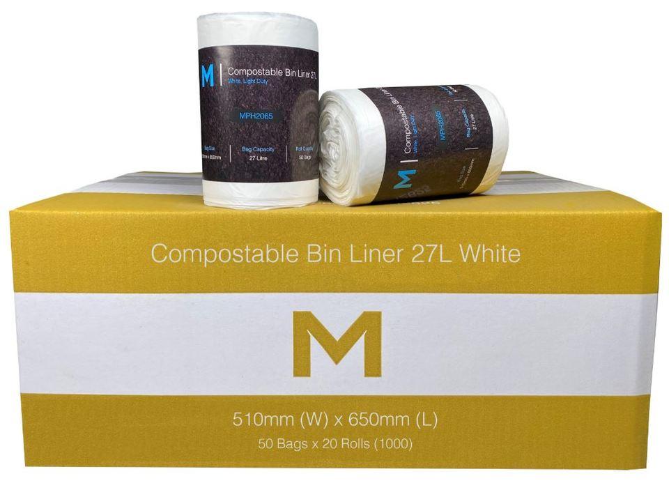 Office Bin Liner 27L Compostable 27L whiteW - Matthews