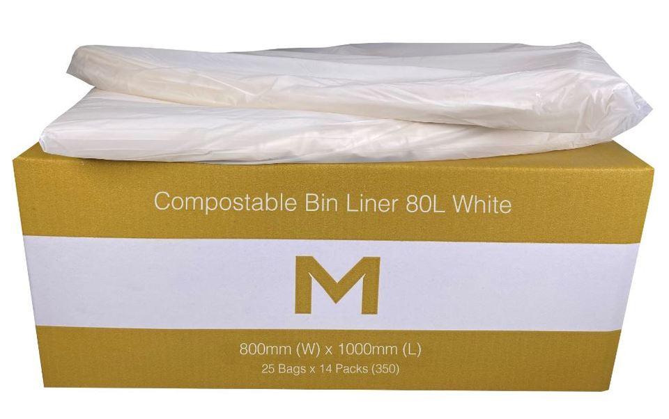 Bin Liners 80L Compostable White - Matthews