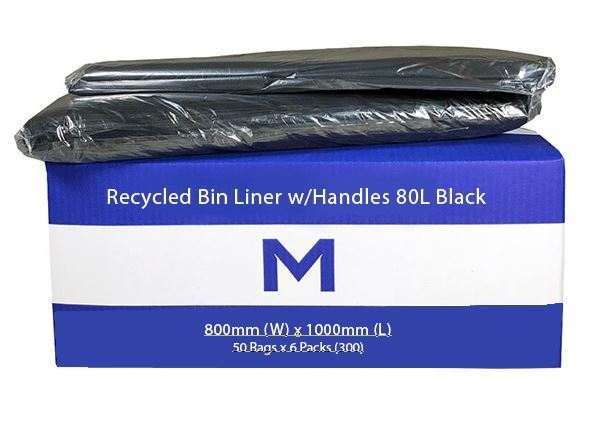 Rubbish Bag Bin Liner 80L with handles Black - Matthews
