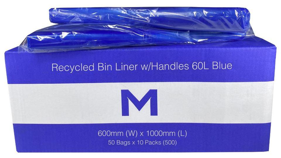 FP Recycled Bin Liner w/Handles 60L - Blue, 600mm x 1000mm x 30mu - Matthews