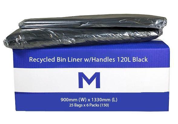 Bin Liner 120L Black with handles - Matthews