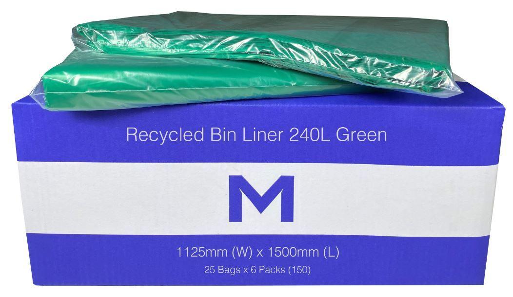 Recycled Bin Liner 240L Green  - Matthews
