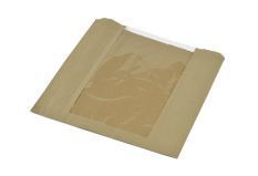 Bag kraft with window 25 x 25cm - Vegware