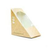 Box sandwich wedge 12 x 12 x 7cm wide kraft - Vegware