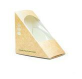 Box sandwich wedge 12 x 12 x 8cm wide kraft - Vegware
