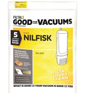 FILTA NILFISK GD5, GD10 MICROFIBRE VACUUM CLEANER BAGS 5 PACK - Filta