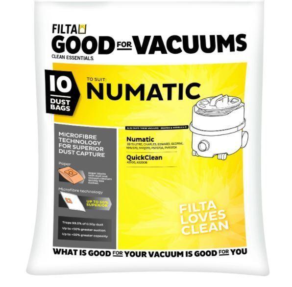 FILTA NUMATIC 2B MICROFIBRE VACUUM CLEANER BAGS 10 PACK - Filta