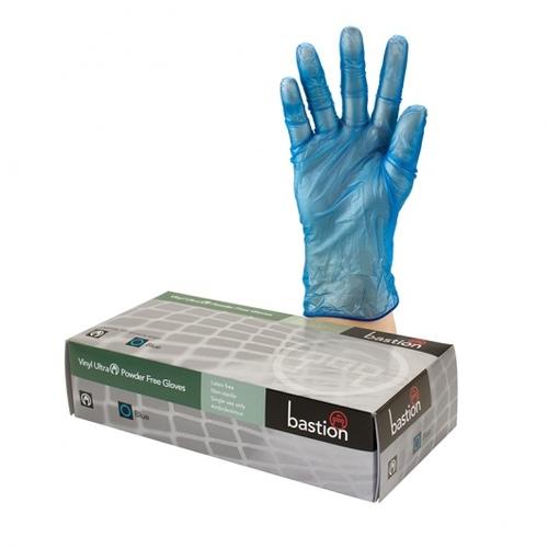 Bastion Vinyl Ultra P/F Blue Gloves Medium - UniPak